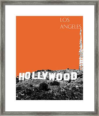 Los Angeles Skyline Hollywood - Coral Framed Print by DB Artist