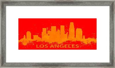 Los Angeles Skyline Paint Splatter Framed Print by Brian Reaves