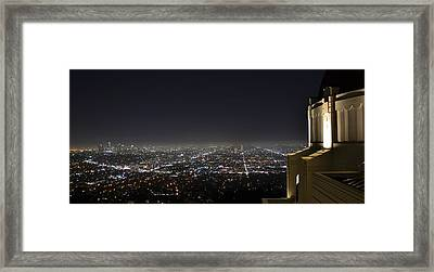 Los Angeles Skyline Panorama From The Griffith Observatory Framed Print by David Lobos
