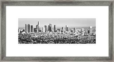Los Angeles Skyline Panorama Photo Framed Print by Paul Velgos