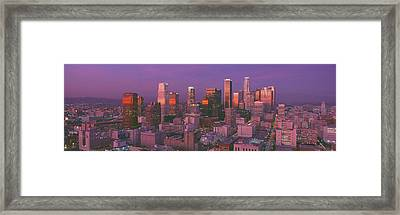 Los Angeles, Skyline, Sunset, California Framed Print