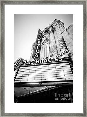 Los Angeles Theatre Sign In Black And White Framed Print by Paul Velgos