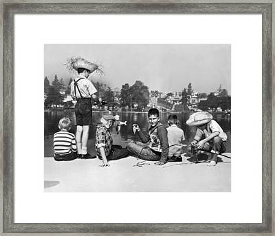 Los Angeles Tom Sawyer Contest Framed Print by Underwood Archives