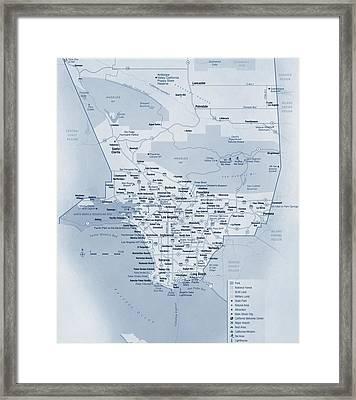 Los Angeles Tourist Map Framed Print