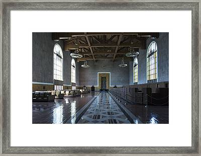 Framed Print featuring the photograph Los Angeles Union Station Original Ticket Lobby by Belinda Greb