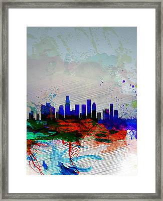 Los Angeles  Watercolor Skyline 1 Framed Print by Naxart Studio