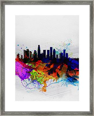 Los Angeles  Watercolor Skyline 2 Framed Print