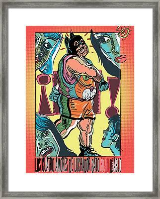 Los Cuatro Amores De Luchador Gato Rojo Diablo Framed Print