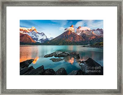 Los Cuernos Dawn Framed Print by Inge Johnsson
