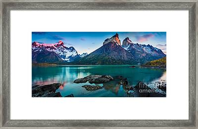 Los Cuernos Panorama Framed Print by Inge Johnsson