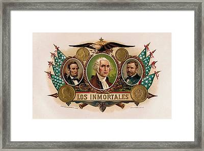 Los Inmortales Cigar Box Label Framed Print