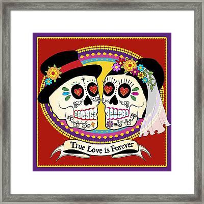 Los Novios Sugar Skulls Framed Print by Tammy Wetzel