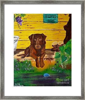Framed Print featuring the painting Lost Ball by Denise Tomasura
