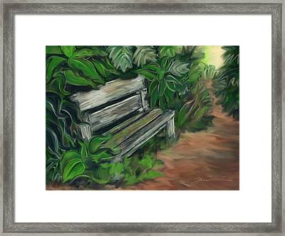 Lost Bench Framed Print by Jean Pacheco Ravinski