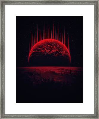 Lost Home Colosal Future Sci Fi Deep Space Scene In Diabolic Red Framed Print by Philipp Rietz