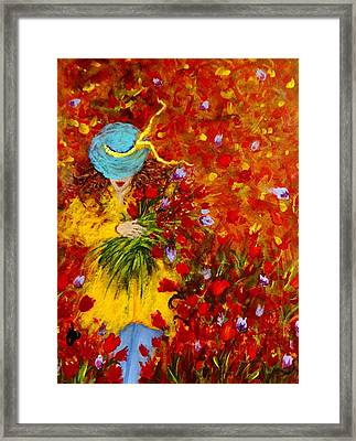 Lost In A Field Of Tulips.. Framed Print