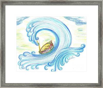 Lost In Giant Wave Framed Print