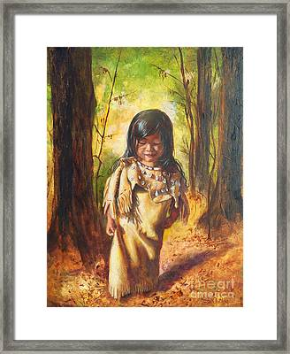 Framed Print featuring the painting Lost In The Woods by Karen Kennedy Chatham