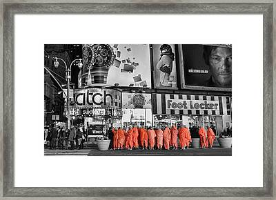 Lost In Times Square Framed Print
