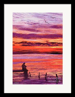 Sunset By The Lake Framed Prints