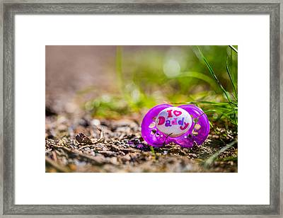 Framed Print featuring the photograph Lost Pacifier. by Gary Gillette