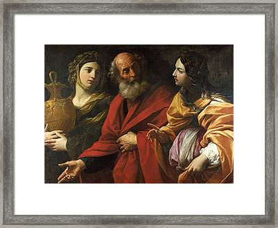 Lot And His Daughters Leaving Sodom Framed Print