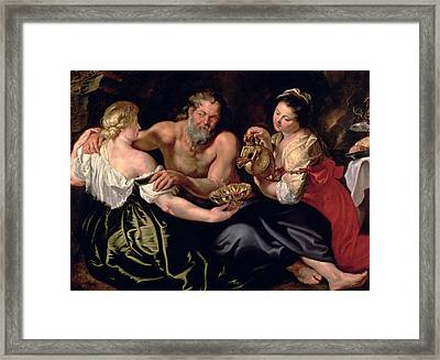 Lot And His Daughters Framed Print by Rubens