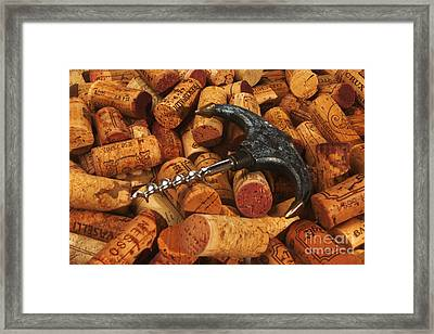 Lots Of Corks And A Cork Screw Framed Print by Stefano Senise