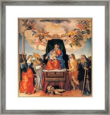 Lotto Lorenzo, Altarpiece Of Santo Framed Print by Everett