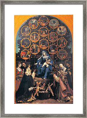 Lotto Lorenzo, Madonna Of The Rosary Framed Print