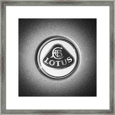 Lotus Emblem -0495bw Framed Print