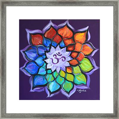 Framed Print featuring the painting Lotus Flower by Agata Lindquist