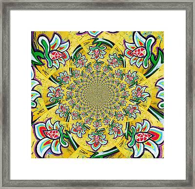 Lotus Flower Kaleidoscope Mandela Framed Print