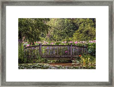 Framed Print featuring the photograph Lotus Garden Pond And Bridge by Jerry Gammon