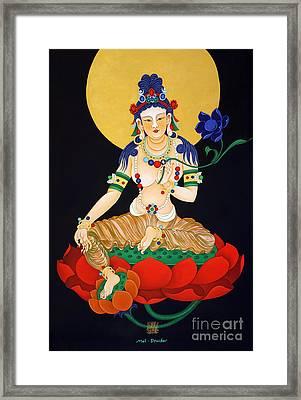 Lotus Guanyan Framed Print by Mei Drucker