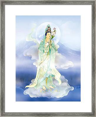 Framed Print featuring the photograph Lotus-holding Kuan Yin by Lanjee Chee