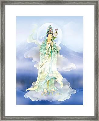 Lotus-holding Kuan Yin Framed Print by Lanjee Chee