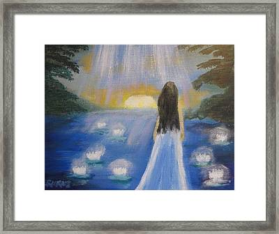 Framed Print featuring the painting Lotus Lake by Diana Riukas