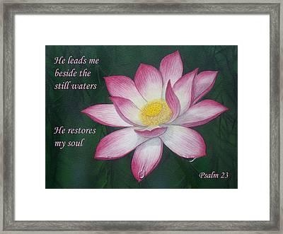 Lotus Lily Psalm Twenty Three Framed Print
