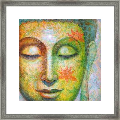 Framed Print featuring the painting Lotus Meditation Buddha by Sue Halstenberg
