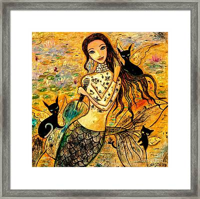 Lotus Pool Framed Print by Shijun Munns