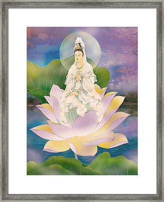 Lotus-sitting Avalokitesvara  Framed Print by Lanjee Chee