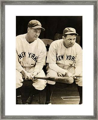 Lou Gehrig And Babe Ruth Framed Print by Bill Cannon
