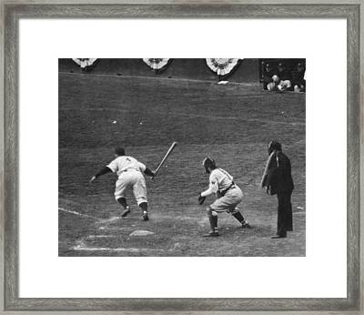 Lou Gehrig Gets A Hit Framed Print by Underwood Archives