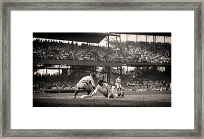 Lou Gehrig Playing First Base Framed Print by Mountain Dreams