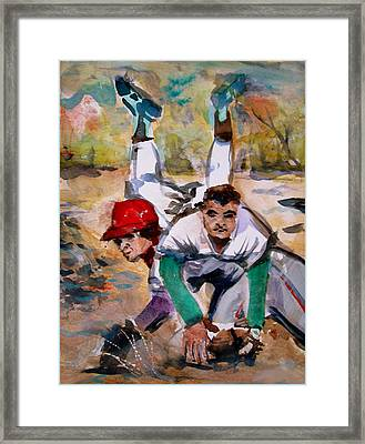 Lou Whitaker And Cal Ripken In Double Play Framed Print by Mindy Newman