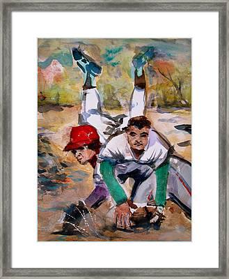 Lou Whitaker And Cal Ripken In Double Play Framed Print