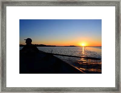 lough Neagh fisherman Framed Print by Barry Kerr