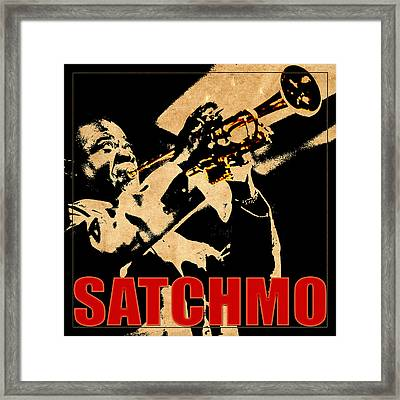 Louis Armstrong Framed Print by Andrew Fare