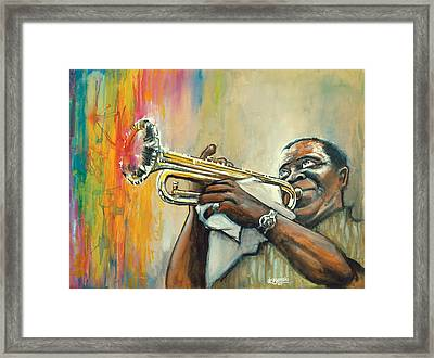 Louis Armstrong Framed Print by Edward Draganski